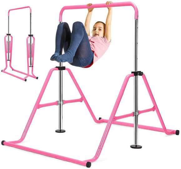 Zupapa Adjustable Gymnastic Bar for kids with Triangular Frame-Pink