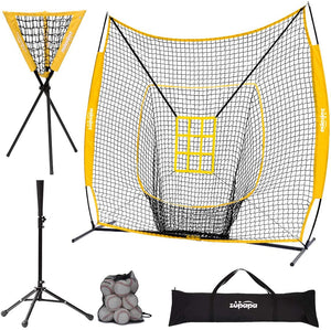 Zupapa Baseball Softball Practice Combo - 7 X 7 Feet Net Yellow