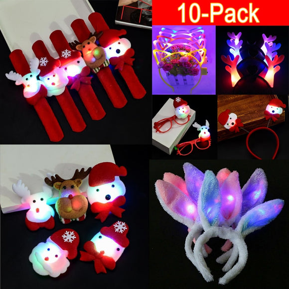 10Pack Christmas LED Light Headband Christmas Party Decorations