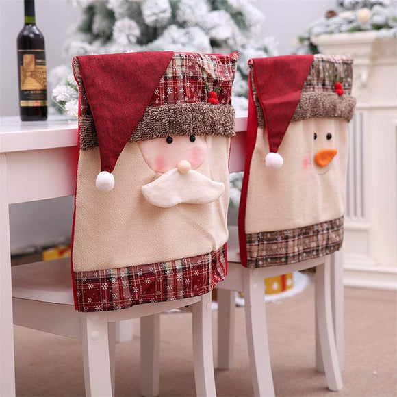 2Pairs Christmas Santa Claus Snowman Chair Covers-3 Styles