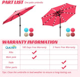 Quictent 9 ft. Market Patio Umbrella-Red