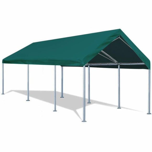 Quictent 10¡¯x20¡¯ Carport Heavy Duty Car Canopy Galvanized Car Boat Shelter with 4 Reinforced Steel Cables Green