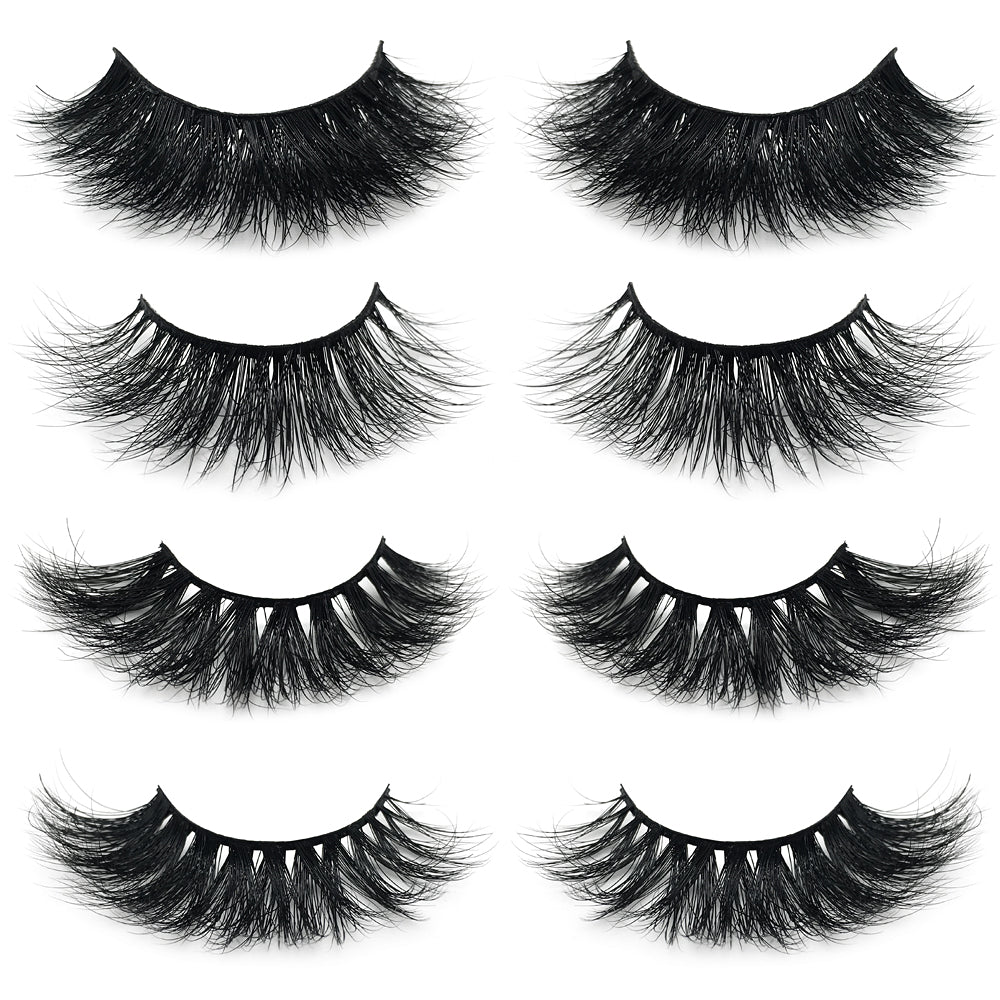 KellyRoom 3D Mink Fur False Eyelashes 4 Pairs Pack