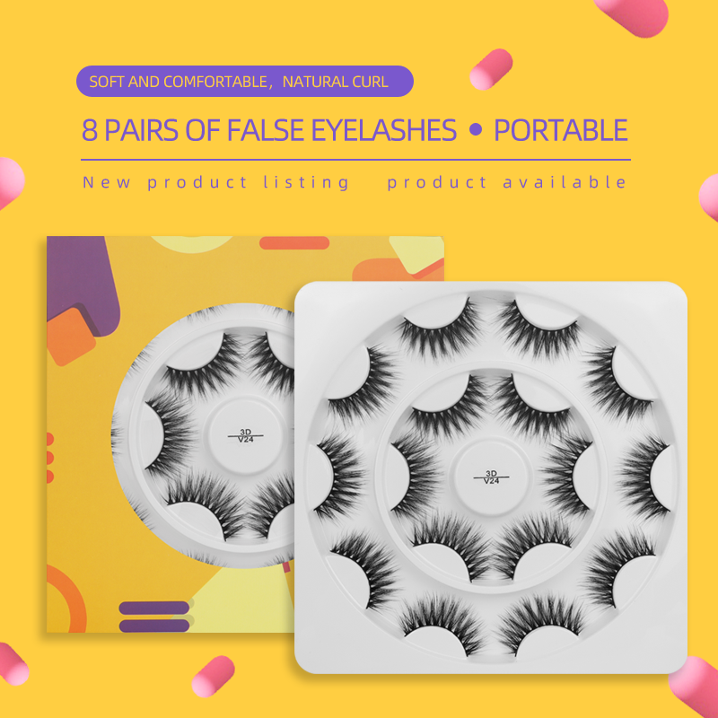 8 Pairs False Eyelashes with Yellow Round Box 3DV24