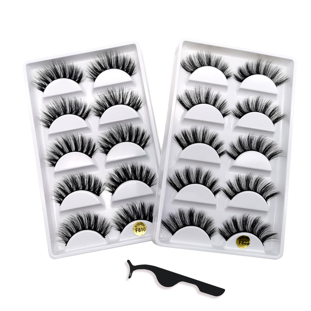 KellyRoom 10 Pairs 3D Faux Mink Lashes Pack with Lash Applicator-2 Styles