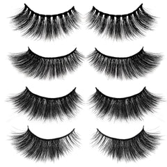3D Faux Mink Lashes Pack of 4 Pairs (Premium Box)