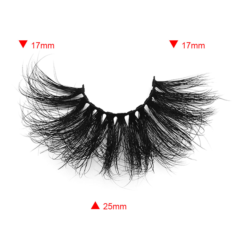25MM Real Mink False Eyelashes ME10 (Pink Box)