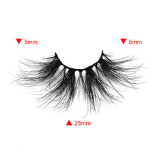 25MM Real Mink False Eyelashes ME12 (Pink Box)