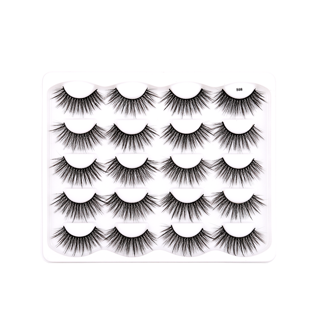 10 Pairs Faux Mink False Eyelashes S08