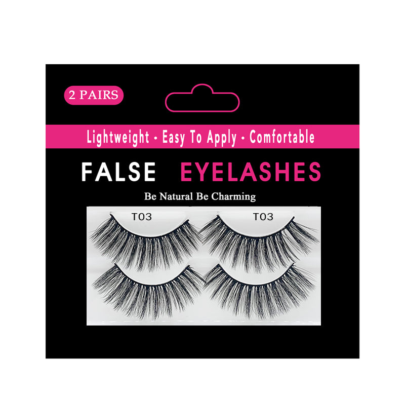 Faux Mink False Lashes Pack of 2 Pairs T03
