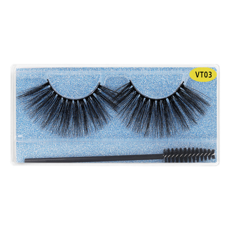 25MM Faux Mink Lashes Colorful Box With Lash Brush VT03