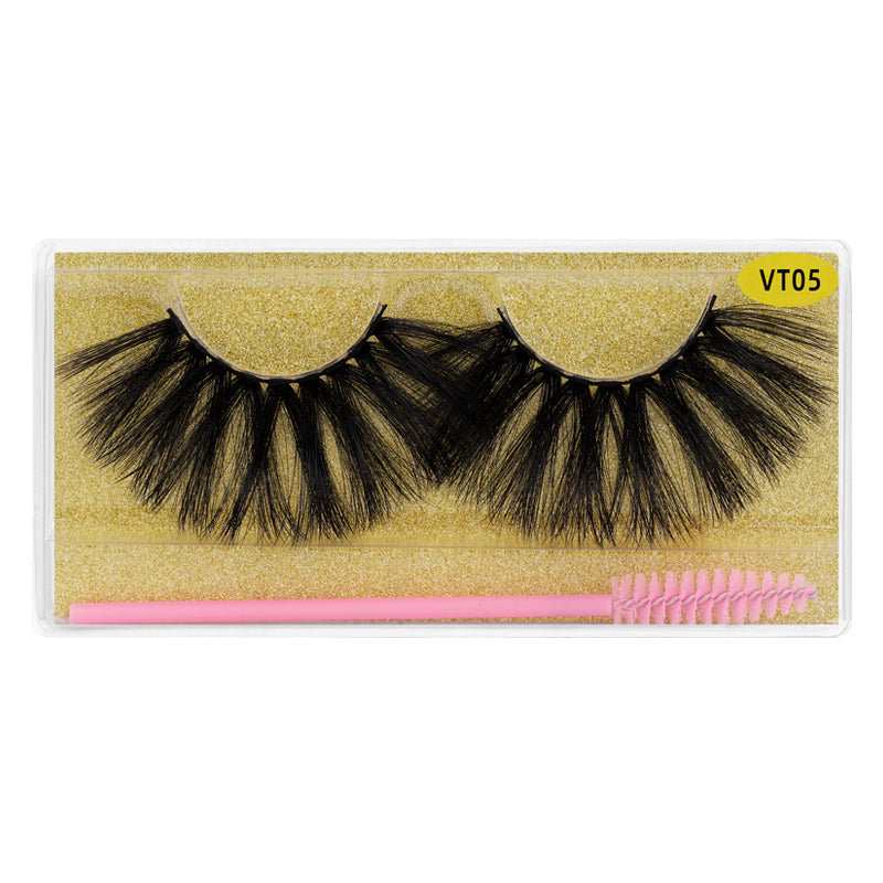 25MM Faux Mink Lashes Colorful Box With Lash Brush VT05
