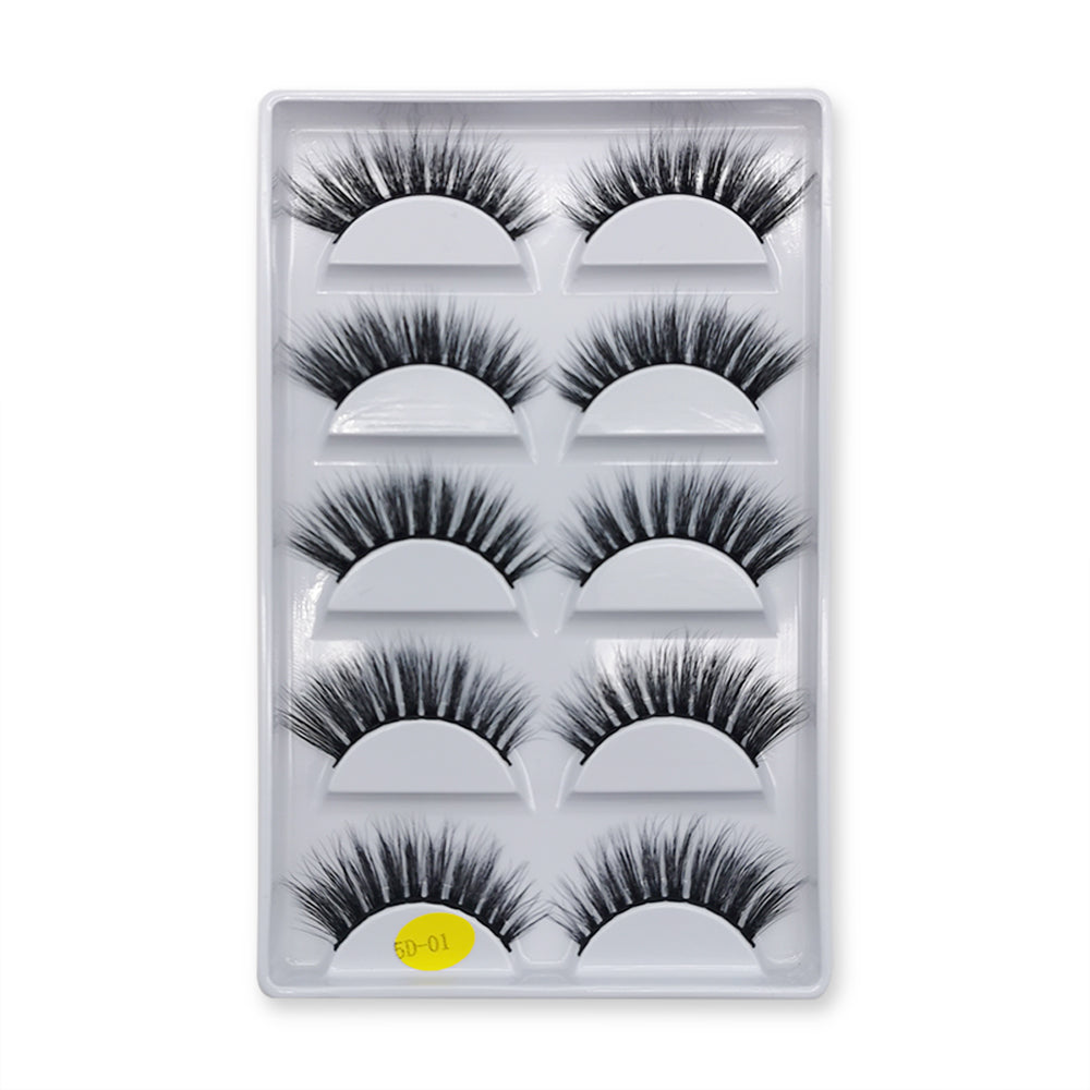 5D Faux Mink False Eyelashes Set 5 Pairs 5D-01