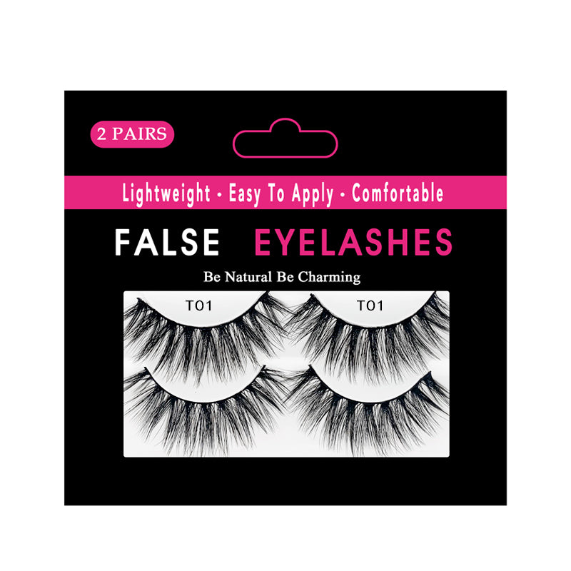 Faux Mink False Lashes Pack of 2 Pairs T01