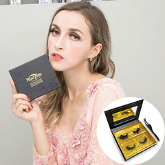 Huapan Cosmetics 3D&4D Mink Fur False Eyelashes Pack of 2 Pairs
