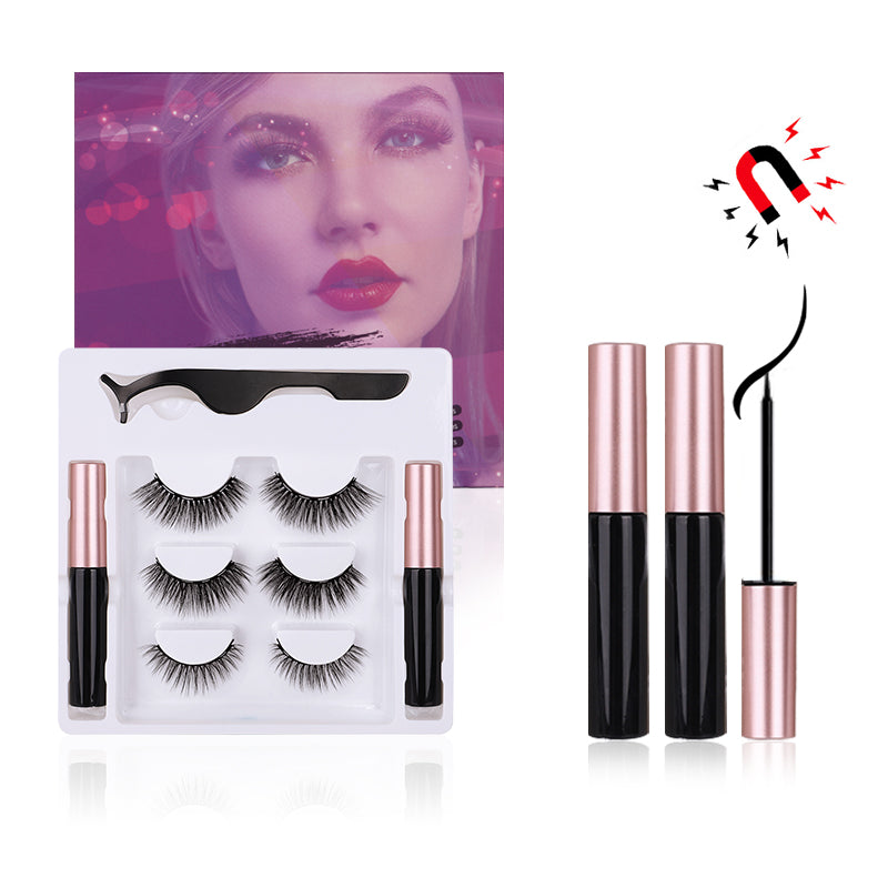 3 Pairs Magnetic Eyelashes with Eyeliner Kit, Natural Look & Glamnetic False Lashes with Applicator
