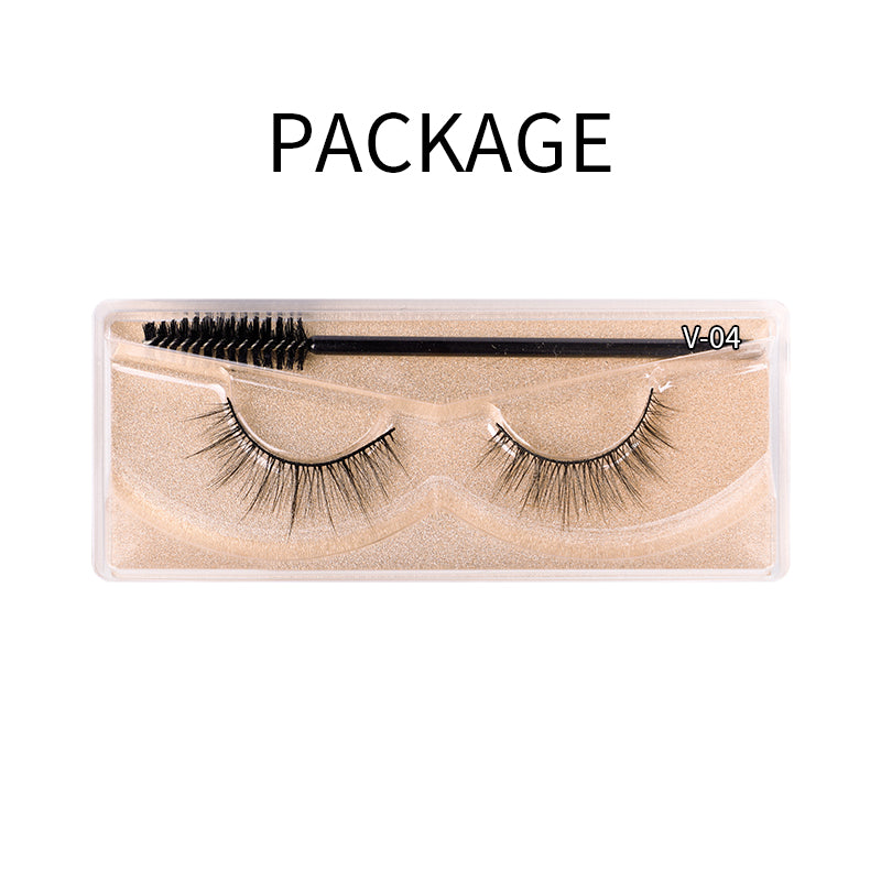 Natural 3D Faux Mink Lashes Colorful Package with Lash Brush V04