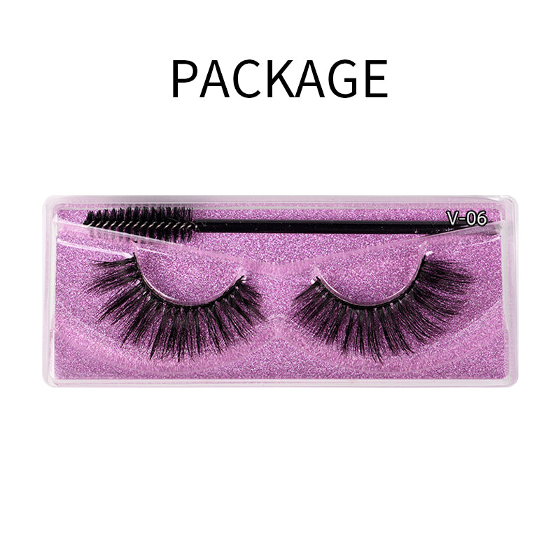Natural 3D Faux Mink Lashes Colorful Package with Lash Brush V06
