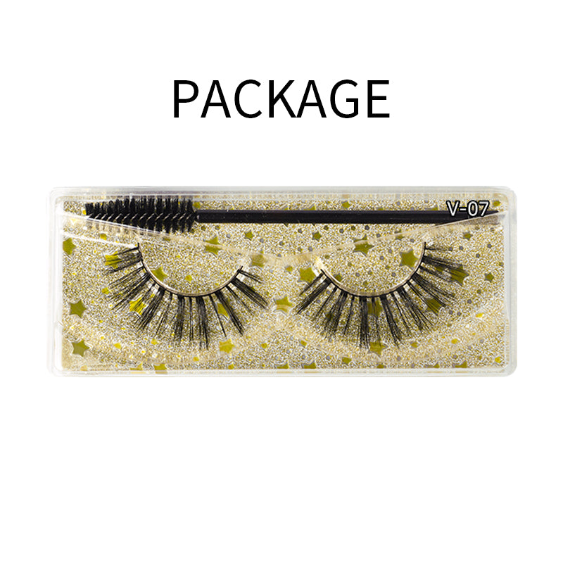 Natural 3D Faux Mink Lashes Colorful Package with Lash Brush V07