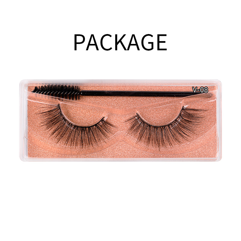 Natural 3D Faux Mink Lashes Colorful Package with Lash Brush V08