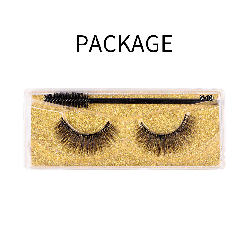 Natural 3D Faux Mink Lashes Colorful Package with Lash Brush V10
