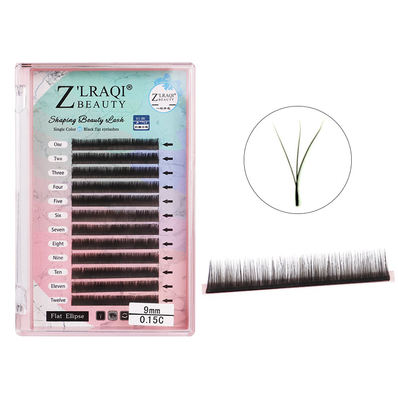 Flat Ellipse Eyelash Extension B C Curl 0.15mm Single Length 8-12mm