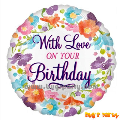 With Love On Your Birthday balloon