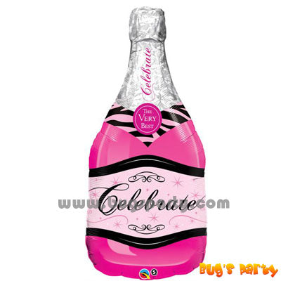 Pink Champagne bottle shaped balloon