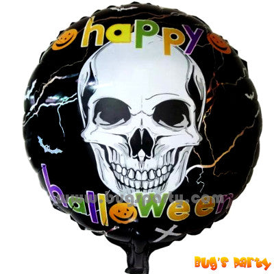 Happy Halloween skull helium foil balloon