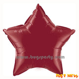 burgundy star shaped foil balloon