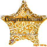 Gold color star shaped Congratulation balloon