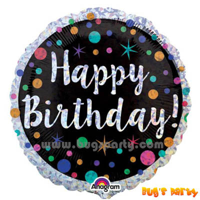 Happy Birthday foil balloon with colorful dots