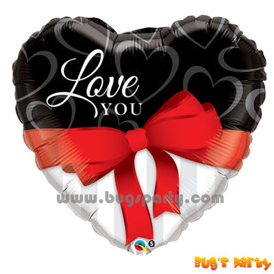 Qualatex balloon ribbon heart shaped with Love You message