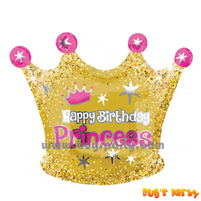 Happy Birthday Princess crown shaped balloon