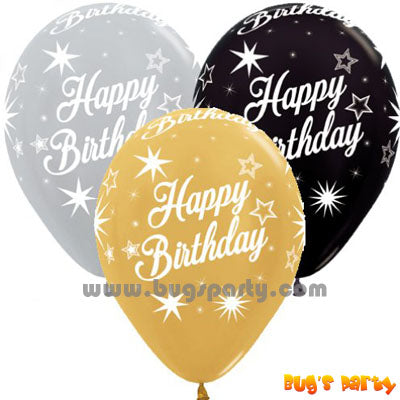 Gold, Silver and Black color Happy Birthday Balloons