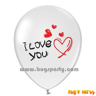 white color I love you message balloon