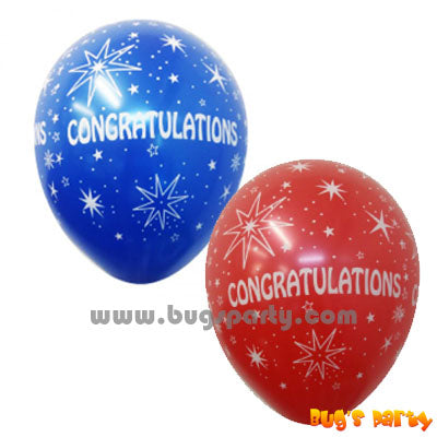 red and blue color congratulations balloons