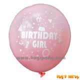 birthday girl latex balloon, baby pink color and helium quality