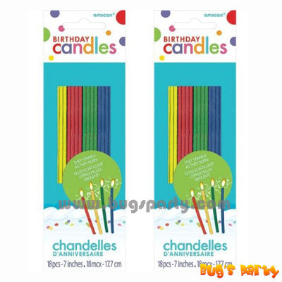 Multi colors thin sparkling candles
