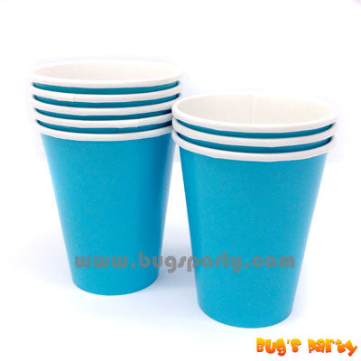 caribbean blue color paper cups