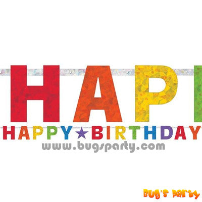 Prismatic paper rainbow color Happy Birthday letter banner