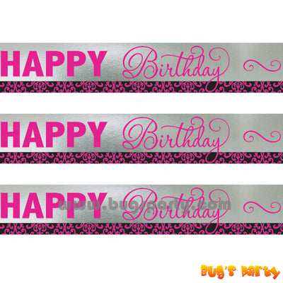 Black N Pink Birthday Banner