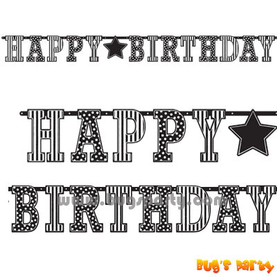 black and white stripes dots birthday letters banner