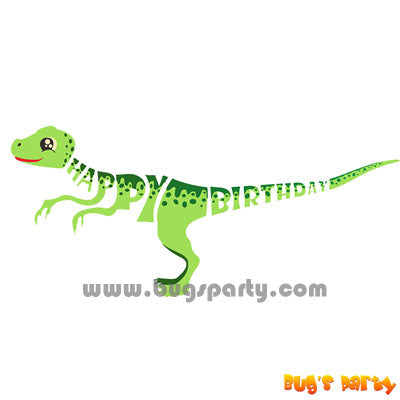 Green color Dinosaur Happy Birthday letter banner
