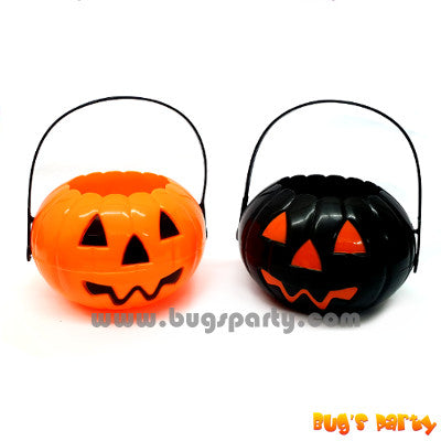 plastic pumpkin pail, bucket for Halloween treat or trick