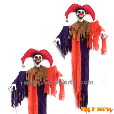 Halloween or haunted house hanging decor prop 6 feet clown skeleton
