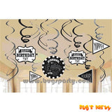 Chalkboard Dots Happy Birthday Hanging Foil Swirl Decorations