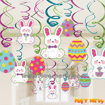 Easter bunny eggs hanging swirls decoration