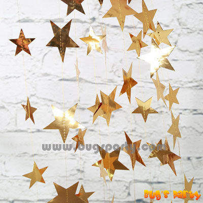 gold color stars string decoration