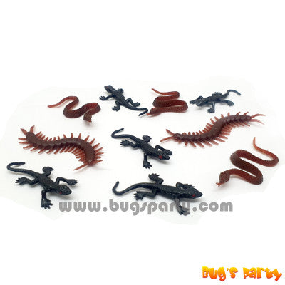 10 mini toy snakes, centipedes, lizards for Halloween treat or trick